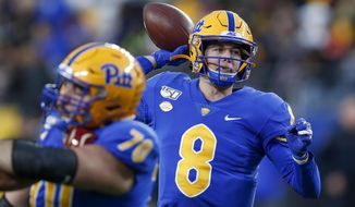 Pittsburgh quarterback Kenny Pickett (8) passes against Boston College during the first half of an NCAA college football game, Saturday, Nov. 30, 2019, in Pittsburgh. (AP Photo/Keith Srakocic)