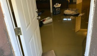 In this photo provided by Cynthia McKenvie is sewage backup that flooded her home, Saturday, Nov. 30, 2019, in the Jamaica, Queens section of New York. Officials say a water condition is causing human waste to back up into several hundred homes in the area there. (Cynthia McKenvie via AP)