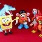 Chatty toy companion gift ideas include Alpha Group's SpongeBob StretchPants, Playskool's Movin' Lips Mr. Potato Head, Zuru's Ice Blasting Dragon and Disney's Forky.  (Photograph by Joseph Szadkowski / The Washington Times)