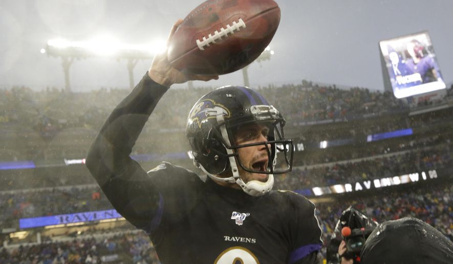Baltimore Ravens kicker Justin Tucker (9) celebrates after making a game winning field goal against the San Francisco 49ers in an NFL football game, Sunday, Dec. 1, 2019, in Baltimore, Md. Ravens won 20-17. (AP Photo/Julio Cortez)