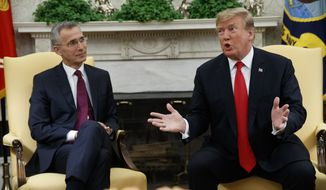 President Donald Trump speaks during a meeting with NATO Secretary-General Jens Stoltenberg in the Oval Office of the White House, Tuesday, April 2, 2019, in Washington. (AP Photo/Evan Vucci) ** FILE **