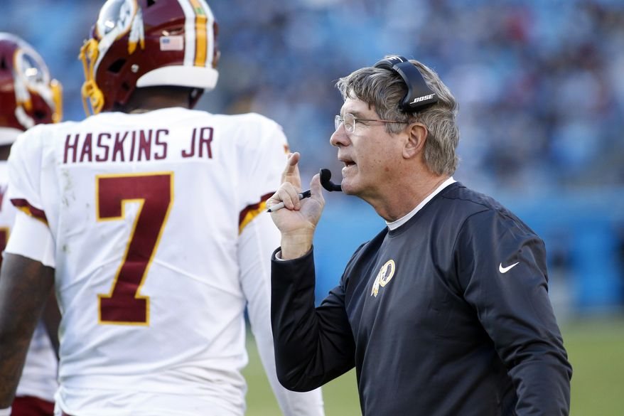 Washington Redskins head coach Bill Callahan looks on during the second half of an NFL football game against the Carolina Panthers in Charlotte, N.C., Sunday, Dec. 1, 2019. (AP Photo/Brian Blanco)