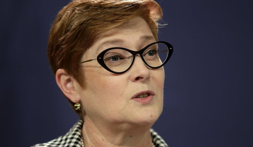 """FILE - In this Oct. 4, 2019, file photo, Australian Foreign Minister Marise Payne holds a press conference following the Australia-New Zealand Foreign Minister Consultations in Sydney. Payne on Monday, Dec. 2, 2019, was """"very concerned"""" and described as unacceptable the daily interrogation of a shackled Chinese Australian writer detained in Beijing on suspicion of espionage since January. (AP Photo/Rick Rycroft, File)"""