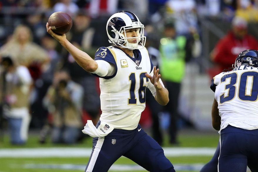 Los Angeles Rams quarterback Jared Goff (16) throws against the Arizona Cardinals during the first half of an NFL football game, Sunday, Dec. 1, 2019, in Glendale, Ariz. (AP Photo/Ross D. Franklin)