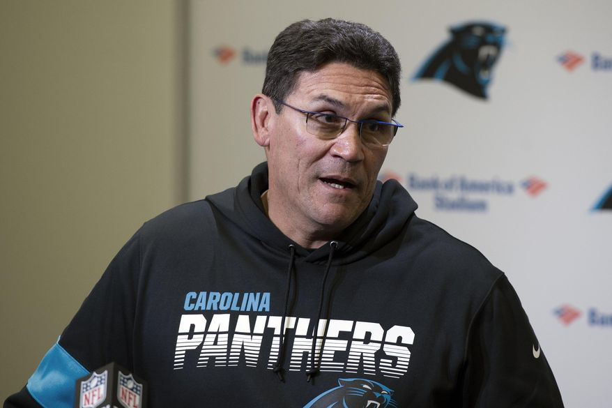 Carolina Panthers head coach Ron Rivera speaks to the media following an NFL football game against the Washington Redskins in Charlotte, N.C., Sunday, Dec. 1, 2019. (AP Photo/Mike McCarn) **FILE**