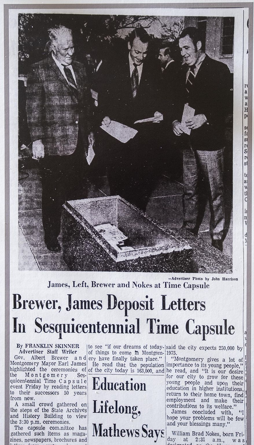 A December 6, 1969 Montgomery Advertiser article about the Anniversary Time Capsule is displayed as the City of Montgomery and the Alabama Department of Archives and History unveiled, during a ceremony at the on Monday December 3, 2018, the 1969 time capsule that will be opened on the 200th anniversary of the incorporation of Montgomery, Ala., on December 3, 2019. (Mickey Welsh/Montgomery Advertiser via AP)