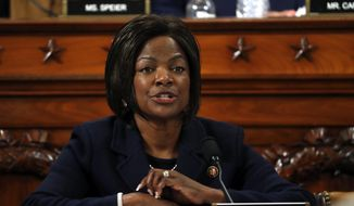 Rep. Val Demings, D-Fla., questions Jennifer Williams, an aide to Vice President Mike Pence, and National Security Council aide Lt. Col. Alexander Vindman, as they testify before the House Intelligence Committee on Capitol Hill in Washington, Tuesday, Nov. 19, 2019, during a public impeachment hearing of President Donald Trump's efforts to tie U.S. aid for Ukraine to investigations of his political opponents. (AP Photo/Jacquelyn Martin, Pool) ** FILE **