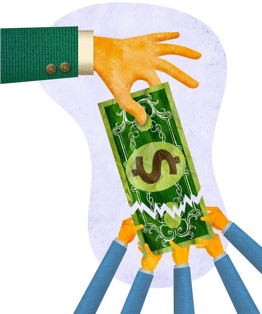 Wealth Redistribution Illustration by Greg Groesch/The Washington Times
