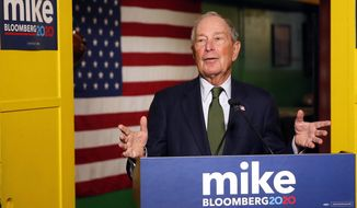 In this Nov. 26, 2019, photo, Democratic presidential candidate Michael Bloomberg speaks to the media in Phoenix. (AP Photo/Rick Scuteri) ** FILE **