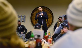 Democratic presidential candidate Andrew Yang speaks during a town hall at Branch and Blade Brewing Company in Keene, N.H., on Monday, Dec. 2, 2019. (Kristopher Radder/Brattleboro Reformer via AP)