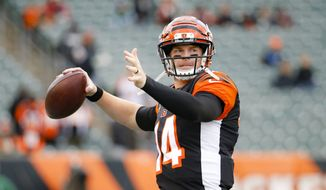 Cincinnati Bengals quarterback Andy Dalton practices before an NFL football game against the New York Jets, Sunday, Dec. 1, 2019, in Cincinnati. (AP Photo/Frank Victores) ** FILE **