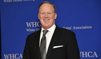 In this April 27, 2019, file photo Sean Spicer attends the 2019 White House Correspondents' Association dinner at the Washington Hilton in Washington. Spicer is now a member of the U.S. Naval Academy's Board of Visitors. Spicer was sworn in Monday, Dec. 2, during a board meeting in Annapolis, Md. (Photo by Charles Sykes/Invision/AP, File)