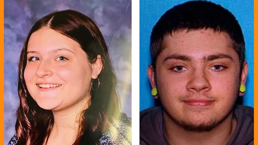 This photo combination provided by the Pennsylvania State Police shows Samara Derwin, left, and Jordan Oliver. Authorities say that Derwin, 15, was reported missing Sunday, Dec. 1, 2019, and is believed to have been abducted by 20-year-old Oliver. Police say Oliver is operating a stolen marked 2014 Nanticoke Police Department Ford Interceptor sports-utility vehicle with Pennsylvania registration MG5473H. (Courtesy of Pennsylvania State Police via AP)