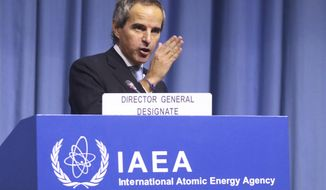 The designated director general of International Atomic Energy Agency, IAEA, Rafael Mariano Grossi from Argentina, delivers a speech at the beginning of a general confernce of the IAEA, at the International Center in Vienna, Austria, Monday, Dec. 2, 2019. (AP Photo/Ronald Zak)
