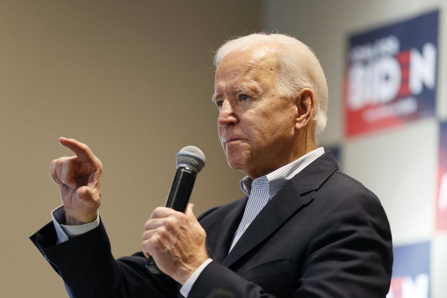 Democratic presidential candidate former Vice President Joe Biden speaks during a meeting with local residents, Monday, Dec. 2, 2019, in Emmetsburg, Iowa. (AP Photo/Charlie Neibergall)