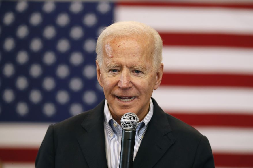 Democratic presidential candidate former U.S. Vice President Joe Biden speaks to local residents during a bus tour stop at Water's Edge Nature Center, Monday, Dec. 2, 2019, in Algona, Iowa. (AP Photo/Charlie Neibergall) ** FILE **