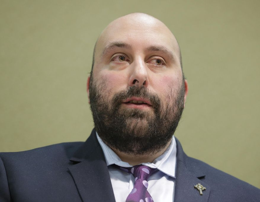 John Bellocchio, a survivor of abuse, speaks to reporters during a news conference in Newark, N.J., Monday, Dec. 2, 2019. Lawsuits alleging sexual abuse by Roman Catholic clergy are taking center stage in New Jersey as the state's relaxation of statute of limitations rules takes effect. Bellocchio's lawsuit accuses defrocked former Cardinal Theodore McCarrick, the former Archbishop of the Newark diocese. (AP Photo/Seth Wenig)