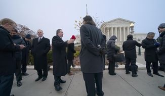 People gather outside the Supreme Court before the justices hear arguments in a case brought by gun owners in New York City, on Capitol Hill in Washington, Monday, Dec. 2, 2019. Advocates of gun control worry that the court's conservative majority could use the case to call into question restrictions across the country. (AP Photo/J. Scott Applewhite)