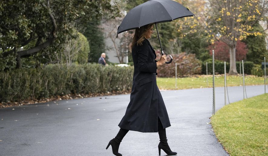 First lady Melania Trump walks on the South Lawn of the White House before departing with President Donald Trump as they head to England, Monday, Dec. 2, 2019, in Washington. (AP Photo/Alex Brandon)