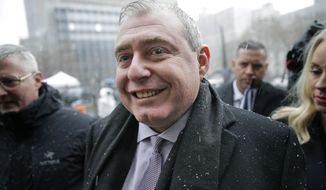 Lev Parnas arrives to court in New York, Monday, Dec. 2, 2019. Parnas and Igor Fruman, close associates to U.S. President Donald Trump's lawyer Rudy Giuliani, were arrested last month at an airport outside Washington while trying to board a flight to Europe with one-way tickets. They were later indicted by federal prosecutors on charges of conspiracy, making false statements to the Federal Election Commission and falsification of records. (AP Photo/Seth Wenig) ** FILE **