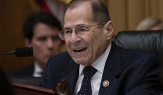 """FILE - In this May 8, 2019, file photo, House Judiciary Committee Chair Jerrold Nadler, D-N.Y., speaks during a hearing in Washington. The House Judiciary Committee is moving to the forefront of President Donald Trump's impeachment, starting with a hearing Wednesday, Dec. 4 to examine the """"high crimes and misdemeanors"""" set out in the Constitution. (AP Photo/J. Scott Applewhite, fFle)"""