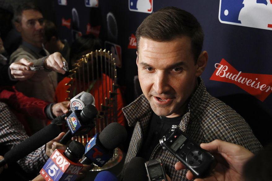 Washington Nationals first baseman Ryan Zimmerman speaks with members of the media as he arrives for the premiere of a documentary film on the team's first World Series baseball championship, Monday, Dec. 2, 2019, in Washington. (AP Photo/Patrick Semansky) ** FILE **