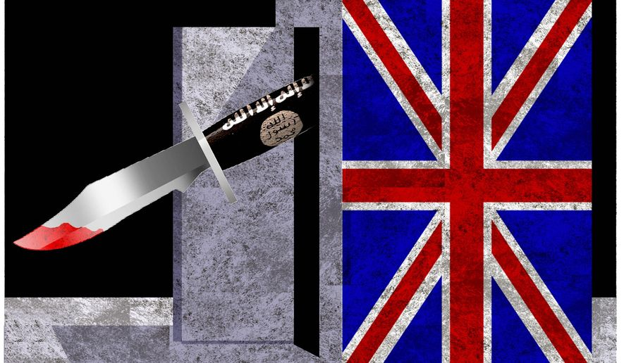 Illustration on the effects of Britain's early release policy by Alexander Hunter/The Washington Times