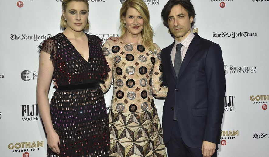 Greta Gerwig, from left, Laura Dern and Noah Baumbach attend the Independent Filmmaker Project's 29th annual IFP Gotham Awards at Cipriani Wall Street on Monday Dec. 2, 2019, in New York. (Photo by Evan Agostini/Invision/AP)