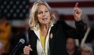 Jill Biden speaks after her husband Democratic presidential candidate former Vice President Joe Biden during a bus tour stop, Tuesday, Dec. 3, 2019, in Mason City, Iowa. (AP Photo/Charlie Neibergall)