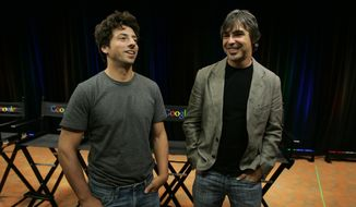 """In this Sept. 2, 2008, file photo Google co-founders Sergey Brin, left, and Larry Page talk about the new Google Browser, """"Chrome,"""" during a news conference at Google Inc. headquarters in Mountain View, Calif. Page and Brin are stepping down from their roles within the parent company, Alphabet. Page, who had been serving as CEO of Alphabet, and Brin, who had been president of Alphabet, will remain on the board of the company. (AP Photo/Paul Sakuma, File)"""
