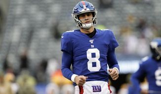 New York Giants quarterback Daniel Jones (8) prior to an NFL football game against the Green Bay Packers on Sunday, Dec. 1, 2019, in East Rutherford, N.J. (AP Photo/Adam Hunger)