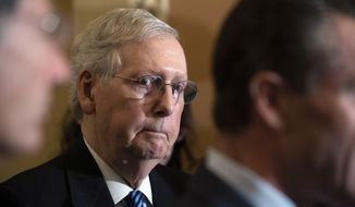Senate Majority Leader Mitch McConnell of Ky., stands as members of the Republican caucus speak with reporters Tuesday, Dec. 3, 2019 in Washington, on Capitol Hill. (AP Photo/Alex Brandon)