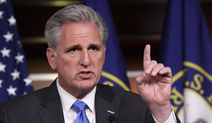 House Minority Leader Kevin McCarthy of Calif., speaks during a news conference on Capitol Hill in Washington, Tuesday, Dec. 3, 2019. (AP Photo/Susan Walsh) ** FILE **