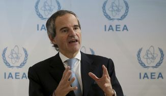 Designated Director General of International Atomic Energy Agency, IAEA, Rafael Mariano Grossi from Argentina, addresses the media during a news conference during a general confernce of the IAEA, at the International Center in Vienna, Austria, Monday, Dec. 2, 2019. (AP Photo/Ronald Zak)