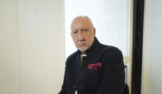 """This Oct. 31, 2019, photo shows author-singer Pete Townshend posing for a portrait in New York to promote his debut novel """"The Age of Anxiety."""" Townshend, a member of the British rock band The Who, said the band plans to return to Cincinnati for the first time since the 1979 tragedy where 11 fans died in a frantic stampede at their concert. (Photo by Matt Licari/Invision/AP)"""