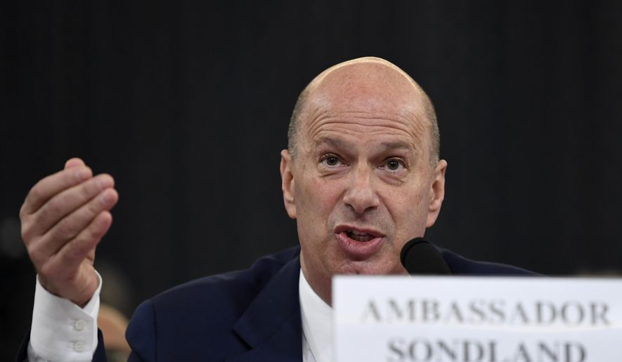 In this Nov. 20, 2019, file photo, U.S. Ambassador to the European Union Gordon Sondland testifies before the House Intelligence Committee on Capitol Hill in Washington. (AP Photo/Susan Walsh, File)