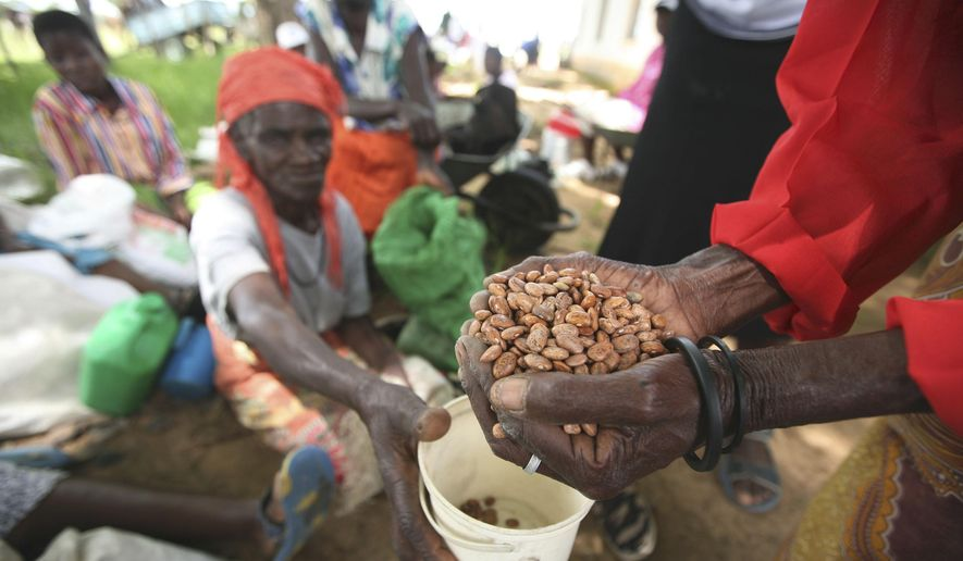 In this Thursday, Jan. 15, 2009, file photo, village women receive aid from the charity organization, Oxfam International, at a distribution center in Chirumhanzi about 250 Kilometers Southeast of Harare. (AP Photo/Tsvangirayi Mukwazhi, File)
