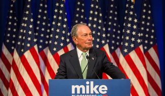 Democratic presidential candidate Michael R. Bloomberg hit 5% support in a Morning Consult poll released this week, a tie for fifth place with Sen. Kamala D. Harris, who dropped out of the race on Tuesday. (Associated Press)