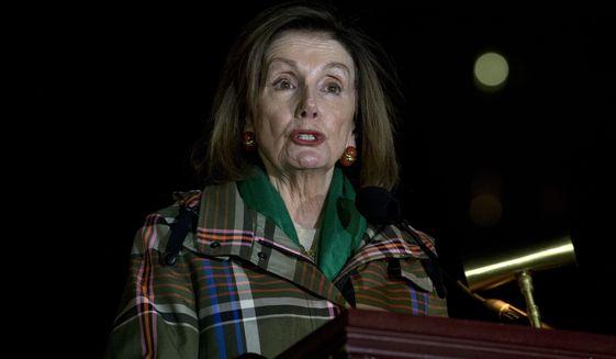Speaker of the House Nancy Pelosi of Calif., speaks during the U.S, Capitol Christmas Tree lighting ceremony, Wednesday, Dec. 4, 2019, in Washington. (AP Photo/Jose Luis Magana)