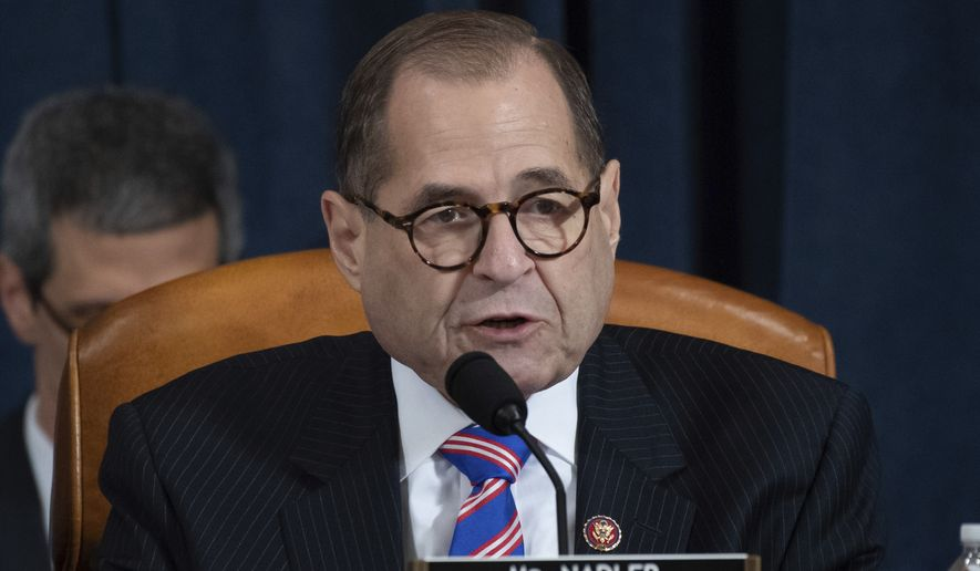 House Judiciary Committee Chairman Rep. Jerrold Nadler, D-N.Y., talks during a hearing before the House Judiciary Committee on the constitutional grounds for the impeachment of President Donald Trump, on Capitol Hill in Washington, Wednesday, Dec. 4, 2019. (Saul Loeb/Pool photo via AP)