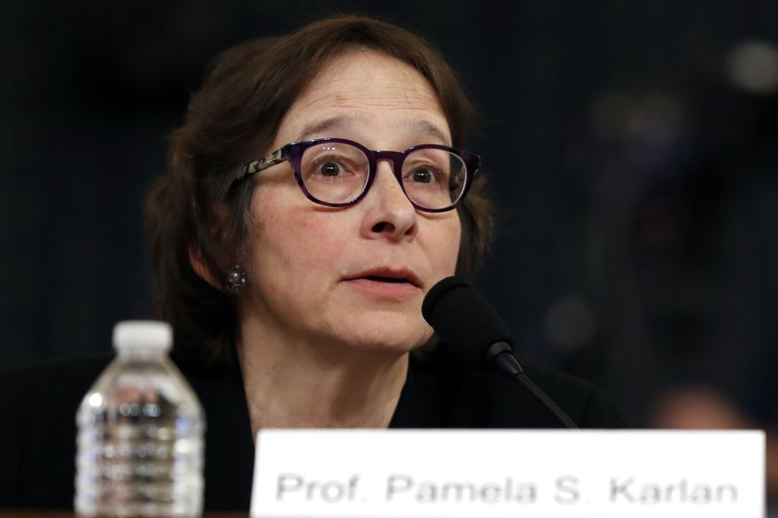 Stanford Law School professor Pamela Karlan described how she spent all Thanksgiving Day poring over transcripts of impeachment testimony. (Associated Press)