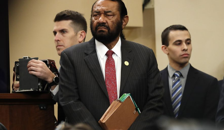 Rep. Al Green, D-Texas, arrives to listen at the hearing before the House Judiciary Committee on the constitutional grounds for the impeachment of President Donald Trump, Wednesday, Dec. 4, 2019, on Capitol Hill in Washington. (AP Photo/Jacquelyn Martin)