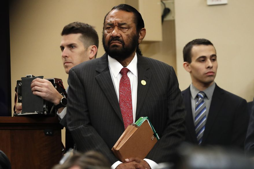 Rep. Al Green, D-Texas, arrives to listen at the hearing before the House Judiciary Committee on the constitutional grounds for the impeachment of President Donald Trump, Wednesday, Dec. 4, 2019, on Capitol Hill in Washington. (AP Photo/Jacquelyn Martin) ** FILE **