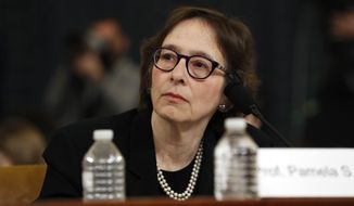 Constitutional law scholar Stanford Law School professor Pamela Karlan testifies during a hearing before the House Judiciary Committee on the constitutional grounds for the impeachment of President Donald Trump, Wednesday, Dec. 4, 2019, on Capitol Hill in Washington. (AP Photo/Jacquelyn Martin)