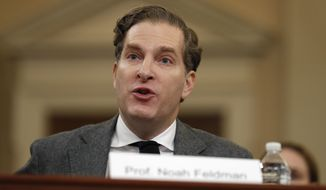 Harvard Law School professor Noah Feldman gives his opening statement as he testifies during a hearing before the House Judiciary Committee on the constitutional grounds for the impeachment of President Donald Trump, Wednesday, Dec. 4, 2019, on Capitol Hill in Washington. (AP Photo/Jacquelyn Martin)