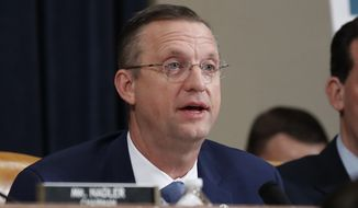 House Judiciary Committee ranking member Rep. Doug Collins, R-Ga., talks during a hearing before the House Judiciary Committee on the constitutional grounds for the impeachment of President Donald Trump, on Capitol Hill in Washington, Wednesday, Dec. 4, 2019. (AP Photo/Alex Brandon)