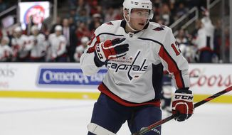 Washington Capitals' Jakub Vrana celebrates after scoring a goal against the San Jose Sharks during the second period of an NHL hockey game Tuesday, Dec. 3, 2019, in San Jose, Calif. (AP Photo/Ben Margot)
