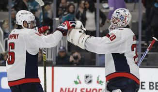 Washington Capitals goalie Braden Holtby, right, and teammate Michal Kempny (6) celebrate the team's 5-2 win over the San Jose Sharks in an NHL hockey game Tuesday, Dec. 3, 2019, in San Jose, Calif. (AP Photo/Ben Margot) ** FILE **