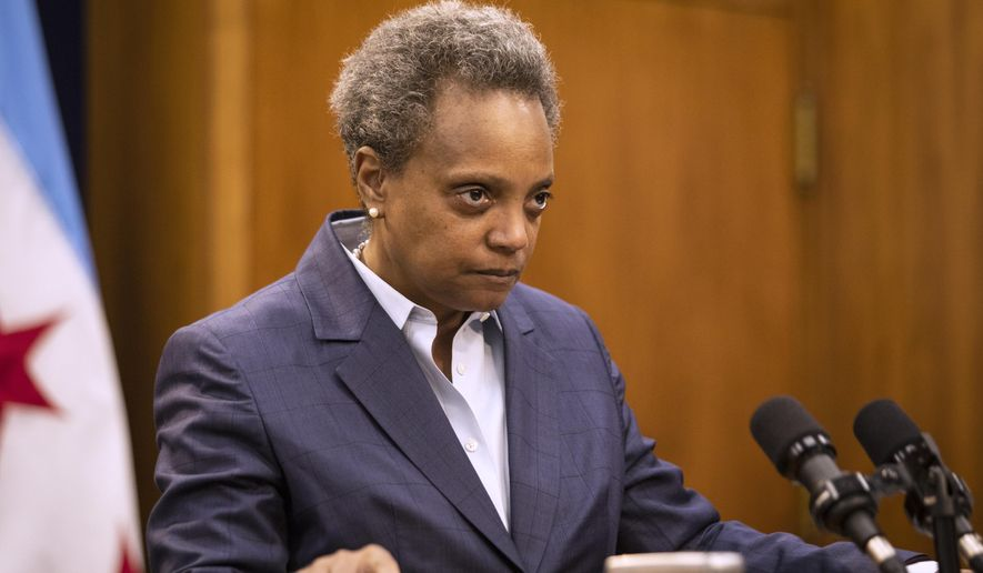 Mayor Lori Lightfoot announces the firing Monday, Dec. 2, 2019 of Chicago Police Supt. Eddie Johnson. (Ashlee Rezin Garcia/Chicago Sun-Times via AP)
