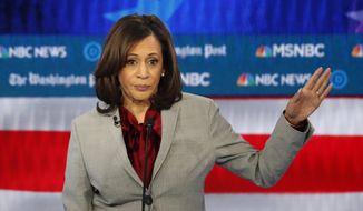 Democratic presidential candidate Sen. Kamala Harris, D-Calif., speaks during a Democratic presidential primary debate in Atlanta, Nov. 20, 2019. (AP Photo/John Bazemore)  ** FILE **